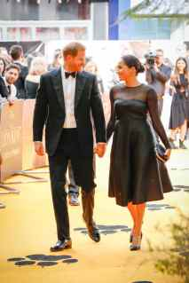 "Prince Harry, Duke of Sussex and Meghan, Duchess of Sussex attend the European Premiere of Disney's ""The Lion King"" at the Odeon Leicester Square on 14th July 2019 in London, UK"
