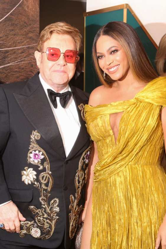 Sir Elton John and Beyonce Knowles-Carter attend the European Premiere of DisneyÕs ÒThe Lion KingÓ at the Odeon Leicester Square on 14th July 2019 in London, UK