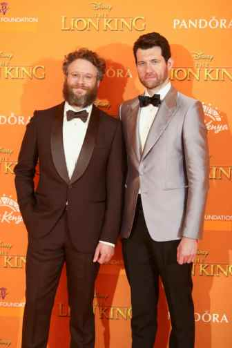 Billy Eichner and Seth Rogen attend the European Premiere of DisneyÕs ÒThe Lion KingÓ at the Odeon Leicester Square on 14th July 2019 in London, UK