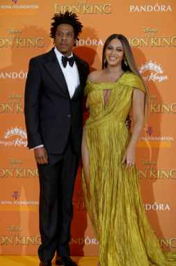 Mr Shawn Carter and Beyonce Knowles-Carter attend the European Premiere of DisneyÕs ÒThe Lion KingÓ at the Odeon Leicester Square on 14th July 2019 in London, UK