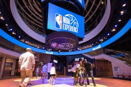 Guests step into the world of professional basketball as both a fan and player at NBA Experience, a first-of-its-kind entertainment venue where guests of all ages and skills can engage in 13 basketball-themed activities in a high-tech, interactive, family-friendly environment in Disney Springs at Walt Disney World Resort in Lake Buena Vista, Fla. (Steven Diaz, photographer)