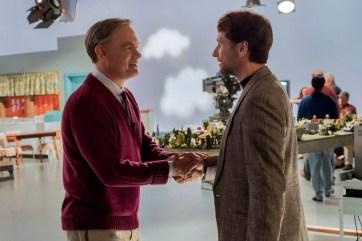 Mister Rogers (Tom Hanks) meets journalist Lloyd Vogel (Matthew Rhys) in TriStar Pictures' A BEAUTIFUL DAY IN THE NEIGHBORHOOD.