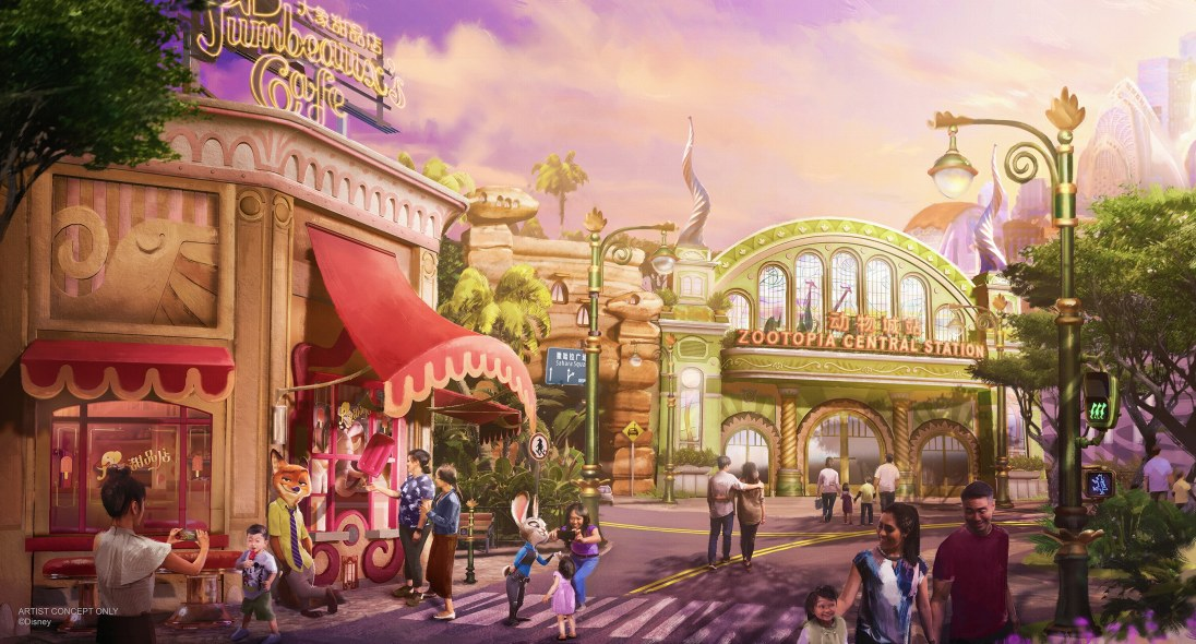 "The ""Zootopia""-themed land coming to Shanghai Disney Resort will feature a major new attraction that blends storytelling and state-of-the-art technology to bring this favorite film to life. Guests can expect immersive entertainment, merchandise, and dining options that can only be found in this mammalian metropolis. (Disney)"