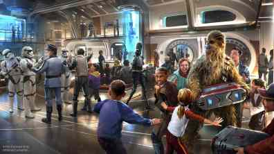 Star Wars: Galactic Starcruiser at Walt Disney World Resort in Florida will invite guests aboard the Halcyon, a starcruiser known throughout the galaxy for its impeccable service and exotic destinations. When they arrive onboard, guests will step into the ship's main deck Atrium to begin their journey through a galaxy far, far away. (Disney/Lucasfilm)