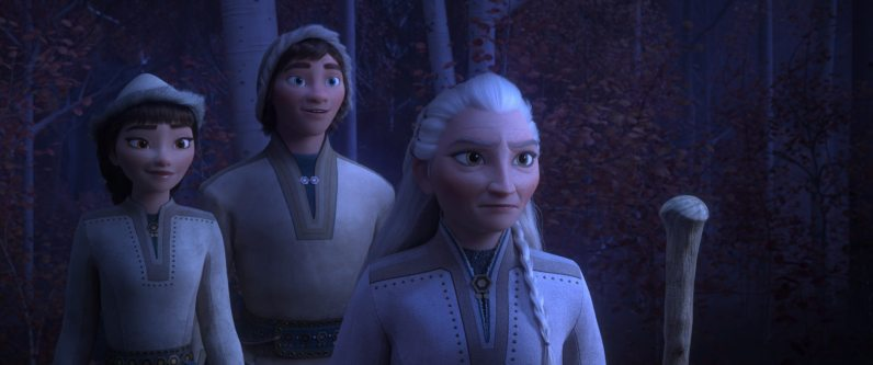 """(From Left to Right) HONEYMAREN - A member of the Northuldra, Honeymaren is a true free spirit and wants nothing more than to bring peace to the enchanted forest. She is bold and brave, with a reverence for the magic of nature. Rachel Matthews provides the voice of Honeymaren. RYDER - Eager and fun, Honeymaren's brother Ryder embraces life with optimism. Ryder's love of reindeer might just rival Kristoff's - but unlike Kristoff, Ryder has never roamed the great plains outside of the Enchanted Forest. He longs to embrace the world and venture beyond the magical mist. Jason Ritter lends his voice to Ryder. YELANA - The unspoken leader of the nomadic Northuldra. She is fiercely protective of her family and community but is known to soften when people show an understanding of nature and their environment. Martha Plimpton was called on to bring Yelana to life. Walt Disney Animation Studios' """"Frozen 2"""" opens in U.S. theaters on Nov. 22, 2019. © 2019 Disney. All Rights Reserved."""