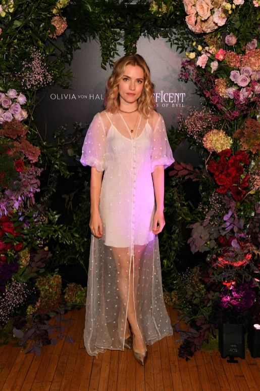 NEW YORK, NEW YORK - OCTOBER 16: Willa Fitzgerald, wearing Olivia von Halle, attends the Olivia von Halle x Disney Maleficent: Mistress of Evil event at The High Line Hotel on October 16, 2019 in New York City. (Photo by Craig Barritt/Getty Images for Disney)