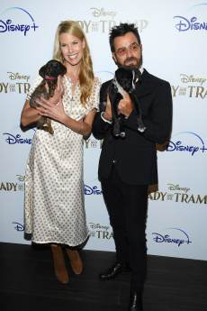 "NEW YORK, NEW YORK - OCTOBER 22: Beth Stern and Justin Theroux attend as Cinema Society hosts a special screening of Disney+'s ""Lady And The Tramp"" at iPic Theater on October 22, 2019 in New York City. (Photo by Dimitrios Kambouris/Getty Images for Disney+)"