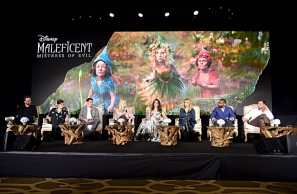 "BEVERLY HILLS, CALIFORNIA - SEPTEMBER 30: (L-R) Director Joachim Ronning, actors Sam Riley, Harris Dickinson, Elle Fanning, Angelina Jolie, Michelle Pfeiffer, Chiwetel Ejiofor and Ed Skrein participate in the global press conference for ""Disney's Maleficent: Mistress of Evil"" on September 30, 2019 in Beverly Hills, California. (Photo by Alberto E. Rodriguez/Getty Images for Disney)"