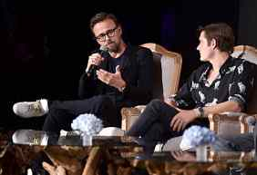 "BEVERLY HILLS, CALIFORNIA - SEPTEMBER 30: Director Joachim Ronning and actor Sam Riley participate in the global press conference for ""Disney's Maleficent: Mistress of Evil"" on September 30, 2019 in Beverly Hills, California. (Photo by Alberto E. Rodriguez/Getty Images for Disney)"