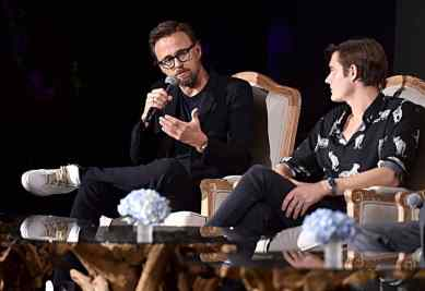 """BEVERLY HILLS, CALIFORNIA - SEPTEMBER 30: Director Joachim Ronning and actor Sam Riley participate in the global press conference for """"Disney's Maleficent: Mistress of Evil"""" on September 30, 2019 in Beverly Hills, California. (Photo by Alberto E. Rodriguez/Getty Images for Disney)"""