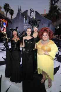 """Shangela, Angelina Jolie, Nina West and Ginger Minj attend the World Premiere of Disney's """"Maleficent: Mistress of Evil"""" at the El Capitan Theatre in Hollywood, CA on September 30, 2019 (photo: Alex J. Berliner/ABImages)"""