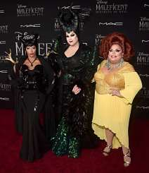"""HOLLYWOOD, CALIFORNIA - SEPTEMBER 30: (L-R) Shangela, Nina West, and Ginger Minj attend the World Premiere of Disney's """"Maleficent: Mistress of Evil"""" at the El Capitan Theatre on September 30, 2019 in Hollywood, California. (Photo by Alberto E. Rodriguez/Getty Images for Disney)"""