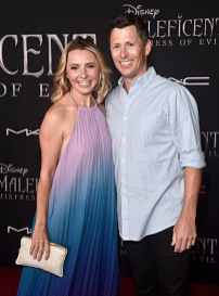 "HOLLYWOOD, CALIFORNIA - SEPTEMBER 30: (L-R) Beverley Mitchell and Michael Cameron attend the World Premiere of Disney's ""Maleficent: Mistress of Evil"" at the El Capitan Theatre on September 30, 2019 in Hollywood, California. (Photo by Alberto E. Rodriguez/Getty Images for Disney)"