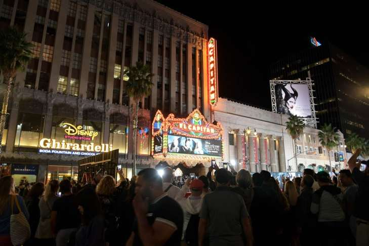 """HOLLYWOOD, CALIFORNIA - SEPTEMBER 30: View of atmosphere at the World Premiere of Disney's """"Maleficent: Mistress of Evil"""" at the El Capitan Theatre on September 30, 2019 in Hollywood, California. (Photo by Charley Gallay/Getty Images for Disney)"""
