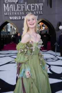 """Elle Fanning attends the World Premiere of Disney's """"Maleficent: Mistress of Evil"""" at the El Capitan Theatre in Hollywood, CA on September 30, 2019 .(photo: Alex J. Berliner/ABImages)"""