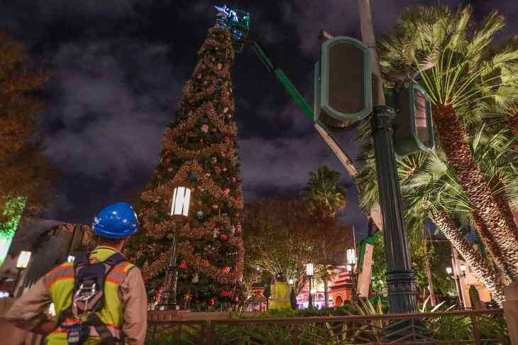 In preparation for the holidays at the Disneyland Resort, Cast Members put the finishing touches on the 50-foot-tall centerpiece Christmas Tree at Disney California Adventure Park in Anaheim, Calif., Nov. 6, 2018. (Joshua Sudock/Disneyland Resort)