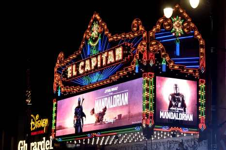 "HOLLYWOOD, CALIFORNIA - NOVEMBER 13: A general view of atmosphere at the premiere of Lucasfilm's first-ever, live-action series, ""The Mandalorian,"" at the El Capitan Theatre in Hollywood, Calif. on November 13, 2019. ""The Mandalorian"" streams exclusively on Disney+. (Photo by Alberto E. Rodriguez/Getty Images for Disney)"