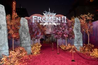 """HOLLYWOOD, CALIFORNIA - NOVEMBER 07: View of signage at the world premiere of Disney's """"Frozen 2"""" at Hollywood's Dolby Theatre on Thursday, November 7, 2019 in Hollywood, California. (Photo by Alberto E. Rodriguez/Getty Images for Disney)"""