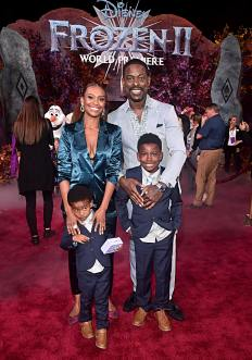 "HOLLYWOOD, CALIFORNIA - NOVEMBER 07: (L-R) Amaré Michael Ryan Christian Brown, Ryan Michelle Bathe, Andrew Jason Sterling Brown, and Actor Sterling K. Brown attend the world premiere of Disney's ""Frozen 2"" at Hollywood's Dolby Theatre on Thursday, November 7, 2019 in Hollywood, California. (Photo by Alberto E. Rodriguez/Getty Images for Disney)"