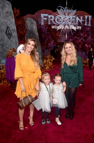 "HOLLYWOOD, CALIFORNIA - NOVEMBER 07: Audrina Patridge (far L) and guests attend the world premiere of Disney's ""Frozen 2"" at Hollywood's Dolby Theatre on Thursday, November 7, 2019 in Hollywood, California. (Photo by Alberto E. Rodriguez/Getty Images for Disney)"