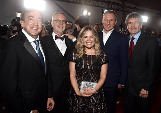 """HOLLYWOOD, CALIFORNIA - NOVEMBER 07: (L-R) Producer Peter Del Vecho, Director Chris Buck, Director/writer/Walt Disney Animation Studios CCO Jennifer Lee, The Walt Disney Company Chairman and CEO Bob Iger, and Co-Chairman and Chief Creative Officer of The Walt Disney Studios Alan Horn attend the world premiere of Disney's """"Frozen 2"""" at Hollywood's Dolby Theatre on Thursday, November 7, 2019 in Hollywood, California. (Photo by Alberto E. Rodriguez/Getty Images for Disney)"""