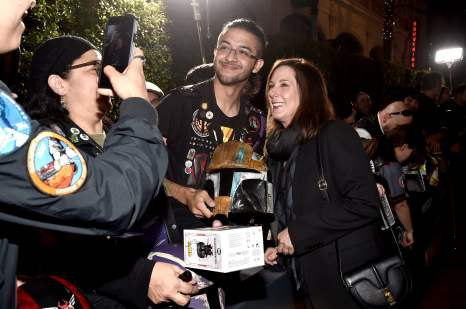 "HOLLYWOOD, CALIFORNIA - NOVEMBER 13: Executive Producer Kathleen Kennedy arrives at the premiere of Lucasfilm's first-ever, live-action series, ""The Mandalorian,"" at the El Capitan Theatre in Hollywood, Calif. on November 13, 2019. ""The Mandalorian"" streams exclusively on Disney+. (Photo by Alberto E. Rodriguez/Getty Images for Disney)"
