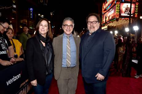 "HOLLYWOOD, CALIFORNIA - NOVEMBER 13: (L-R) Executive Producer Kathleen Kennedy, President, Content and Marketing for Disney+ Ricky Strauss and Executive Producer Jon Favreau arrive at the premiere of Lucasfilm's first-ever, live-action series, ""The Mandalorian,"" at the El Capitan Theatre in Hollywood, Calif. on November 13, 2019. ""The Mandalorian"" streams exclusively on Disney+. (Photo by Alberto E. Rodriguez/Getty Images for Disney)"