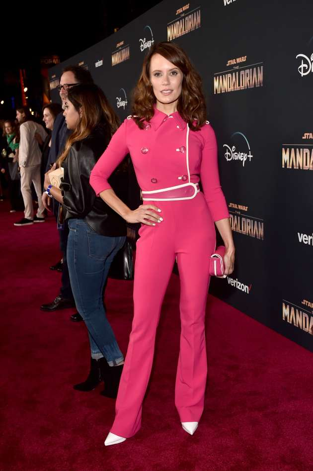 "HOLLYWOOD, CALIFORNIA - NOVEMBER 13: Emily Swallow arrives at the premiere of Lucasfilm's first-ever, live-action series, ""The Mandalorian,"" at the El Capitan Theatre in Hollywood, Calif. on November 13, 2019. ""The Mandalorian"" streams exclusively on Disney+. (Photo by Alberto E. Rodriguez/Getty Images for Disney)"