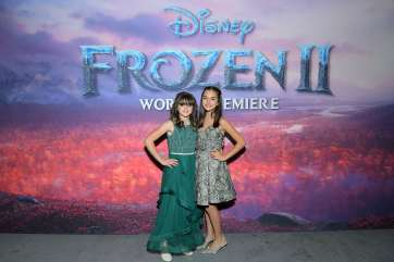 "HOLLYWOOD, CALIFORNIA - NOVEMBER 07: (L-R) Actresses Hadley Gannaway and Mattea Conforti attend the world premiere of Disney's ""Frozen 2"" at Hollywood's Dolby Theatre on Thursday, November 7, 2019 in Hollywood, California. (Photo by Charley Gallay/Getty Images for Disney)"