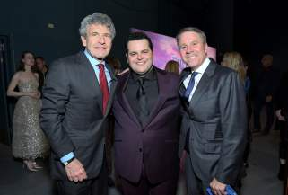 "HOLLYWOOD, CALIFORNIA - NOVEMBER 07: (L-R) Co-Chairman and Chief Creative Officer of The Walt Disney Studios Alan Horn, Actor Josh Gad, and President of Walt Disney Animation Studios Clark Spencer attend the world premiere of Disney's ""Frozen 2"" at Hollywood's Dolby Theatre on Thursday, November 7, 2019 in Hollywood, California. (Photo by Charley Gallay/Getty Images for Disney)"