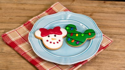 The Holiday Mickey and Minnie Cookies are part of the delicious food offerings during Disney Festival of Holidays. Available November 8 - January 6, this item can be be purchased at Holiday Duets marketplace in Disney California Adventure. (Disneyland Resort)