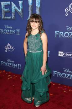 "HOLLYWOOD, CALIFORNIA - NOVEMBER 07: Actress Hadley Gannaway attends the world premiere of Disney's ""Frozen 2"" at Hollywood's Dolby Theatre on Thursday, November 7, 2019 in Hollywood, California. (Photo by Jesse Grant/Getty Images for Disney)"