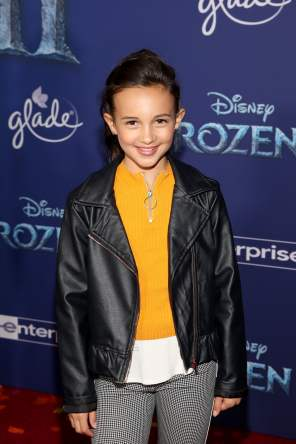 "HOLLYWOOD, CALIFORNIA - NOVEMBER 07: Kaylin Hayman attends the world premiere of Disney's ""Frozen 2"" at Hollywood's Dolby Theatre on Thursday, November 7, 2019 in Hollywood, California. (Photo by Jesse Grant/Getty Images for Disney)"