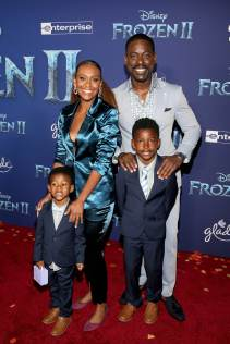 "HOLLYWOOD, CALIFORNIA - NOVEMBER 07: (L-R) Amaré Michael Ryan Christian Brown, Ryan Michelle Bathe, Andrew Jason Sterling Brown, and Actor Sterling K. Brown attend the world premiere of Disney's ""Frozen 2"" at Hollywood's Dolby Theatre on Thursday, November 7, 2019 in Hollywood, California. (Photo by Jesse Grant/Getty Images for Disney)"