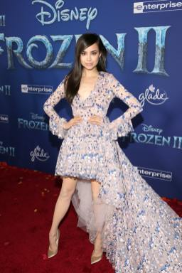 "HOLLYWOOD, CALIFORNIA - NOVEMBER 07: Sofia Carson attends the world premiere of Disney's ""Frozen 2"" at Hollywood's Dolby Theatre on Thursday, November 7, 2019 in Hollywood, California. (Photo by Jesse Grant/Getty Images for Disney)"