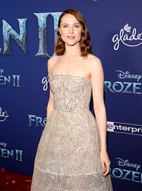"""HOLLYWOOD, CALIFORNIA - NOVEMBER 07: Actress Evan Rachel Wood attends the world premiere of Disney's """"Frozen 2"""" at Hollywood's Dolby Theatre on Thursday, November 7, 2019 in Hollywood, California. (Photo by Jesse Grant/Getty Images for Disney)"""