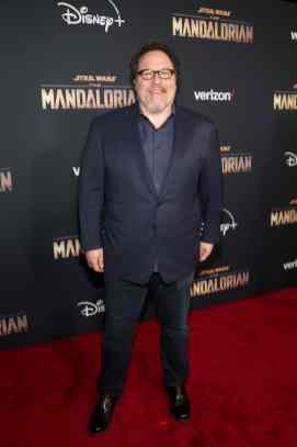"HOLLYWOOD, CALIFORNIA - NOVEMBER 13: Executive Producer Jon Favreau arrives at the premiere of Lucasfilm's first-ever, live-action series, ""The Mandalorian,"" at the El Capitan Theatre in Hollywood, Calif. on November 13, 2019. ""The Mandalorian"" streams exclusively on Disney+. (Photo by Jesse Grant/Getty Images for Disney)"
