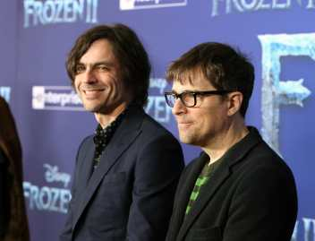 "HOLLYWOOD, CALIFORNIA - NOVEMBER 07: (L-R) Musicians Brian Bell and Rivers Cuomo of Weezer attend the world premiere of Disney's ""Frozen 2"" at Hollywood's Dolby Theatre on Thursday, November 7, 2019 in Hollywood, California. (Photo by Jesse Grant/Getty Images for Disney)"