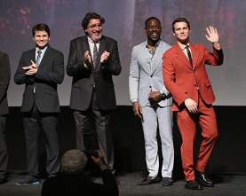 """HOLLYWOOD, CALIFORNIA - NOVEMBER 07: (L-R) Actors Jason Ritter, Alfred Molina, Sterling K. Brown, and Jonathan Groff attend the world premiere of Disney's """"Frozen 2"""" at Hollywood's Dolby Theatre on Thursday, November 7, 2019 in Hollywood, California. (Photo by Jesse Grant/Getty Images for Disney)"""