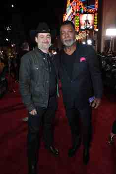 "Director Dave Filoni and Carl Weathers arrive at the premiere of Lucasfilm's first-ever, live-action series, ""The Mandalorian"", at the El Capitan Theatre in Hollywood, CA on November 13, 2019. ""The Mandalorian"" streams exclusively on Disney+.(photo: Alex J. Berliner/ABImages)"