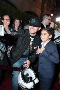 "Aidan Bertola takes a selife with a fan at the premiere of Lucasfilm's first-ever, live-action series, ""The Mandalorian"", at the El Capitan Theatre in Hollywood, CA on November 13, 2019. ""The Mandalorian"" streams exclusively on Disney+.(photo: Alex J. Berliner/ABImages)"
