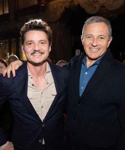 "Pedro Pascal and Disney CEO Bob Iger arrive at the premiere of Lucasfilm's first-ever, live-action series, ""The Mandalorian"", at the El Capitan Theatre in Hollywood, CA on November 13, 2019. ""The Mandalorian"" streams exclusively on Disney+.(photo: Alex J. Berliner/ABImages)"