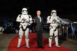 TOKYO, JAPAN - DECEMBER 11: Anthony Daniels with Stormtroopers attend the special fan event for 'Star Wars: The Rise of Skywalker' at Roppongi Hills on December 11, 2019 in Tokyo, Japan. (Photo by Christopher Jue/Getty Images for Disney)