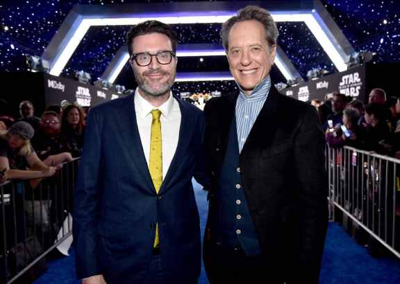 "HOLLYWOOD, CALIFORNIA - DECEMBER 16: (L-R) Executive producer Callum Greene and Richard E. Grant arrive for the World Premiere of ""Star Wars: The Rise of Skywalker"", the highly anticipated conclusion of the Skywalker saga on December 16, 2019 in Hollywood, California. (Photo by Alberto E. Rodriguez/Getty Images for Disney)"