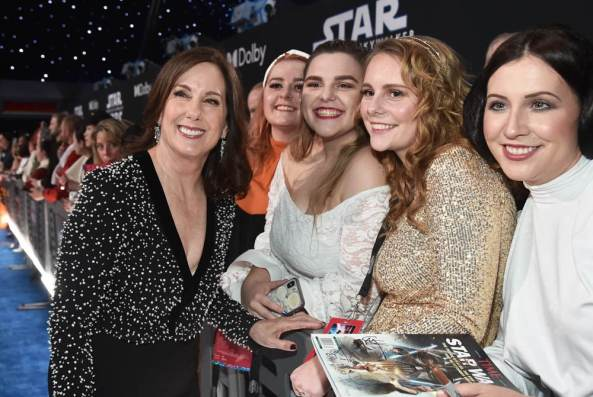 "HOLLYWOOD, CALIFORNIA - DECEMBER 16: President of Lucasfilm and producer Kathleen Kennedy arrives for the World Premiere of ""Star Wars: The Rise of Skywalker"", the highly anticipated conclusion of the Skywalker saga on December 16, 2019 in Hollywood, California. (Photo by Alberto E. Rodriguez/Getty Images for Disney)"