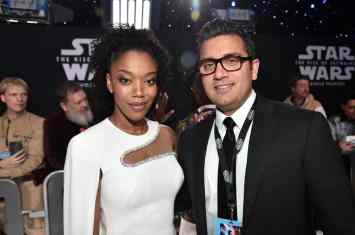 "HOLLYWOOD, CALIFORNIA - DECEMBER 16: (L-R) Naomi Ackie and guest arrive for the World Premiere of ""Star Wars: The Rise of Skywalker"", the highly anticipated conclusion of the Skywalker saga on December 16, 2019 in Hollywood, California. (Photo by Alberto E. Rodriguez/Getty Images for Disney)"