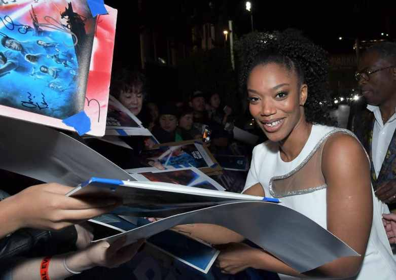 "HOLLYWOOD, CALIFORNIA - DECEMBER 16: Naomi Ackie arrives for the World Premiere of ""Star Wars: The Rise of Skywalker"", the highly anticipated conclusion of the Skywalker saga on December 16, 2019 in Hollywood, California. (Photo by Charley Gallay/Getty Images for Disney)"