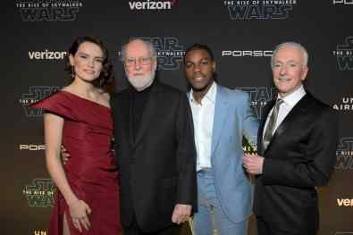 "HOLLYWOOD, CALIFORNIA - DECEMBER 16: (L-R) Daisy Ridley, composer John Williams, John Boyega and Anthony Daniels arrive for the World Premiere of ""Star Wars: The Rise of Skywalker"", the highly anticipated conclusion of the Skywalker saga on December 16, 2019 in Hollywood, California. (Photo by Charley Gallay/Getty Images for Disney)"