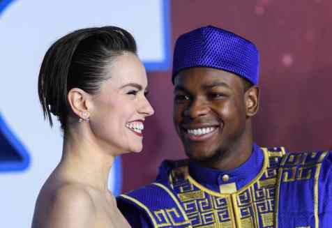 "LONDON, ENGLAND - DECEMBER 18: Daisy Ridley and John Boyega attend the European premiere of ""Star Wars: The Rise of Skywalker"" at Cineworld Leicester Square on December 18, 2019 in London, England. (Photo by Gareth Cattermole/Getty Images for Disney)"