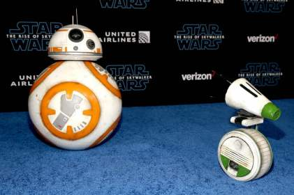 "HOLLYWOOD, CALIFORNIA - DECEMBER 16: (L-R) BB-8 and D-O arrive for the World Premiere of ""Star Wars: The Rise of Skywalker"", the highly anticipated conclusion of the Skywalker saga on December 16, 2019 in Hollywood, California. (Photo by Jesse Grant/Getty Images for Disney)"